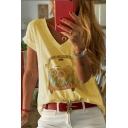 Summer Hot Fashion Comic Pattern V-Neck Short Sleeve T-Shirt For Women