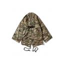 Men's Vintage Camouflage Print Long Sleeve Open Front Loose Cardigan Kimono Jacket