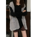 Chic Collarless Flap Pockets Plaid Pattern Print Loose Vest