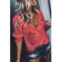 Women's New Arrival Short Sleeve Plunge Neck Floral Printed Blouses Shirt