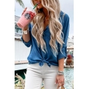 Womens Hot Trendy V-Neck Long Sleeve Plain Bow Hem Casual Dark Blue Blouse Top