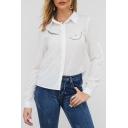 Trendy Fancy Cute Cartoon Eyelash Printed Long Sleeve Button Down Button White Shirt