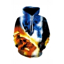 Cool Fashion Colorblocked Yellow and Blue Skull 3D Printed Long Sleeve Casual Loose Drawstring Hoodie