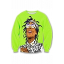 Hot Popular Character 3D Printed Long Sleeve Round Neck Hip Pop Style Green Loose Sweatshirts
