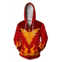 Cool Fashion Yellow Phoenix Fire 3D Printed Comic Cosplay Costume Red Long Sleeve Zip Up Hoodie