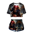 Hot Popular 3D Figure Printed Short Sleeve Crop Tee with Dolphin Shorts Two-Piece Set