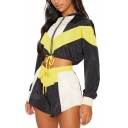 Womens Patchwork Athletic Style Hoodie Long Sleeve Midriff Top with Drawstring Shorts Co-ords