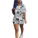 Womens Casual New Newspaper Print Short Sleeve Round Neck Tee with Shorts Co-ords