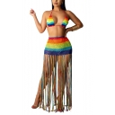 Womens Sexy Swimming Rainbow Stripes Print Knit Mesh Bustier Top with Long tassel lace Skirts Co-ords