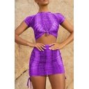 Womens Fashion Snake Print Twist-Front Short Sleeve Round Neck Skinny Crop Tee Tube Skirts Bow Sides Co-ords