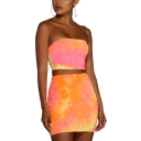 Ladies Pub Style Orange Tie-dyed Color Print Sleeveless Strapless Bandeau Top High-Waist Tube Skirts Co-ords