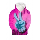 Comic Finger 3D Printed Long Sleeve Drawstring Hooded Loose Fit Unisex Pink Hoodie