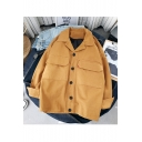 Guys Stylish Simple Solid Color Lapel Collar Large Pocket Single Breasted Denim Jacket