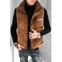 Fashion Funny Letter AMAZING Print Sleeveless Stand Collar Single Breasted Corduroy Vest for Men