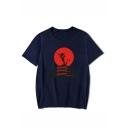 Hot Fashion Letter Mulan Dragon Print Short Sleeve Round Neck Casual T-Shirt