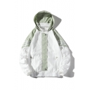 Mens Popular ColorBlock Striped Printed Long Sleeve Zip Up Hooded Sun Protection Jacket Coat