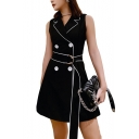 New Fashion Lapel Collar Sleeveless Double Breasted Belted Contrast Piping A-line Mini Black Blazer Dress