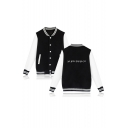 Hot Popular Letter Pattern Stand Collar Long Sleeve Single Breasted Baseball Jacket