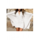Women's Bat-wing Sleeve V-Neck Beach Bikini Cover Up White Loose Dress