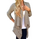 New Arrival Grey Plain Long Sleeve Crochet Slouchy Cardigan for Women
