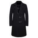 Men's Hot Fashion Plain Notched Lapel Collar Long Sleeve Toggle Closure Longline Fitted Peacoat
