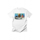 Summer Funny Round Neck Short Sleeve Comic Print Basic T-Shirt For Men