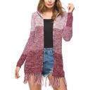 Womens New Patchwork Print Hoodie Long Sleeve Tassel Hem Longline Cardigan