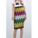 Womens Sexy Geometric Colorful Paillette Embellished Pencil Skirt