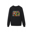 Comic Character Printed Round Neck Long Sleeve Unisex Casual Sports Pullover Sweatshirts