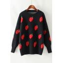 Ladies Lovely Strawberry Print Round Neck Long Sleeve Boxy Sweater