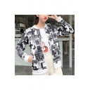 Ladies Simple Cross-Shaped Letter Printed Zipper Velvet Baseball Jacket Coat with Pocket