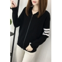 White Stripe Panel Stand Up Collar Zipper Plus Size Baseball Jacket with Pocket
