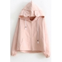Girls Preppy Cartoon Bear Ear Drawstring Hooded Letter Printed Flap Pocket Back Plain Zip Up Coat Jacket