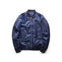 New Trendy Simple Plain Zip Closure Long Sleeve MA-1 Flight Jacket Bomber Jacket