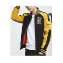 New Arrival Fashion Dragon Print Stand Collar Long Sleeve Embroidery Detail Fitted Baseball Jacket