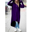 Solid Color Design Back Tie Fishtail Hem Double Button Hooded Zipper Long Trench Coat