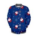 New Stylish Christmas Figure Printed Stand Collar Long Sleeve Button Down Baseball Jacket