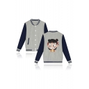 Mens Popular Comic Pattern Rib Stand Collar Long Sleeve Single Breasted Casual Baseball Jacket