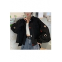 Loose Metal Ring Embellished Chest Flap Pocket Colorblocked Button Cropped Baseball Jacket Coat