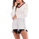 Womens Simple White Plain Open-Knit V-Neck Drop Sleeve Knitwear Sweater