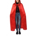 Halloween Theme Cosplay Costume Plain Tied Hooded Witch Longline Cloak Cape Coat for Adult