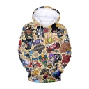 Brawl Stars Comic Figure Printed Long Sleeve Loose Fit Yellow Casual Pullover Hoodie