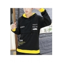 Mens Popular Fashion Letter EXPLORE Printed Long Sleeve Casual Drawstring Pullover Hoodie