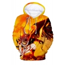 Yellow Flame Comic Character 3D Printed Long Sleeve Loose Fit Pullover Hoodie