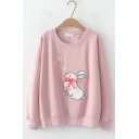 Cute Rabbit Love Heart Embroidered Round Neck Long Sleeve Sweatshirt