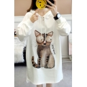 Popular Letter Cat Pattern Long Sleeves High Low Hem Slit Side Pullover Hoodie