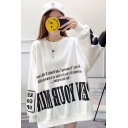 Letter Printed Round Neck Long Sleeve Loose Oversized Pullover Sweatshirt