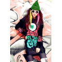 Hip Hop Street Style Round Neck Long Sleeve Black Pullover Sweatshirt
