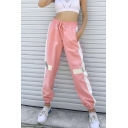 Womens New High Drawstring Waist Contrast Piping Elastic Ankle Detail Reflective Sweatpants With Pockets