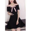 Womens New Fashion Boat Neck Short Sleeve Bow Plain Cami A-Line Mini Dress